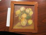 "Tablou ""Flori Galbene in Vas Galben"" u/c rama lemn veche / semnat E. Carpinisan, Ulei, Realism"