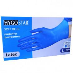 Cumpara ieftin Manusi latex Soft Blue marimea L, albastre, 100 bucati/cutie, nepudrate