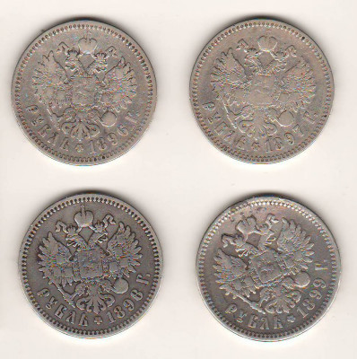 SV * Rusia LOT 4 x 1 RUBLA  1896 - 1897 - 1898 - 1899  ARGINT * TARUL NIKOLAI II foto