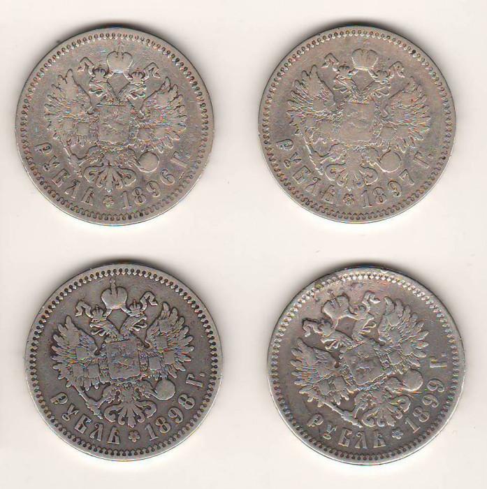 SV * Rusia LOT 4 x 1 RUBLA  1896 - 1897 - 1898 - 1899  ARGINT * TARUL NIKOLAI II
