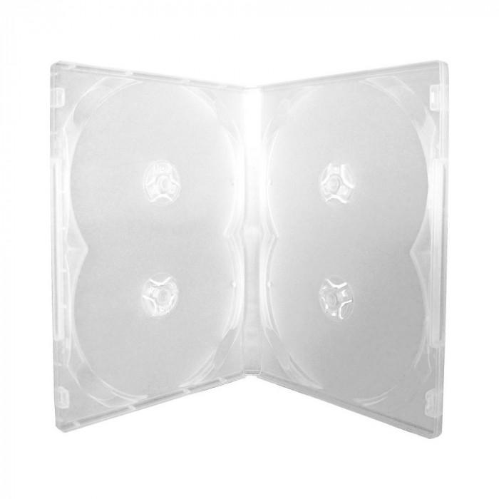 Carcasa pentru 4 DVD-uri transparenta, 14 mm