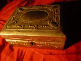 Caseta metalica argintata veche , dim.= 12x9x5cm