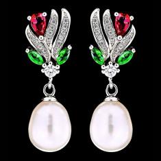 Cercei din Argint 925 cu Perle Naturale si Diamante, Snake