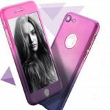 Husa telefon Apple iPhone 7 protectie 360 Ultrasubtire Semitransparenta Degradee + Folie Sticla