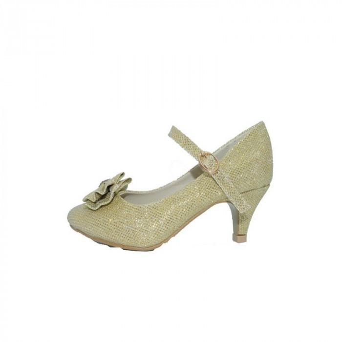 Pantofi eleganti cu toc pentru fetite MRS R1282 AU, Auriu
