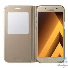 Husa Flip Cu Fereastra Samsung Galaxy A5 (2017) A520 S-View EF-CA520PFEGWW Original In Blister Aurie