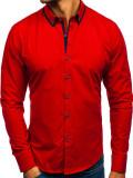 Cumpara ieftin Cămașa elegantă pentru bărbat cu mâneca lungă roșie Bolf 8824