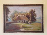 Peisaj rustic – frumoasă pictură în ulei, semnată, Peisaje, Realism