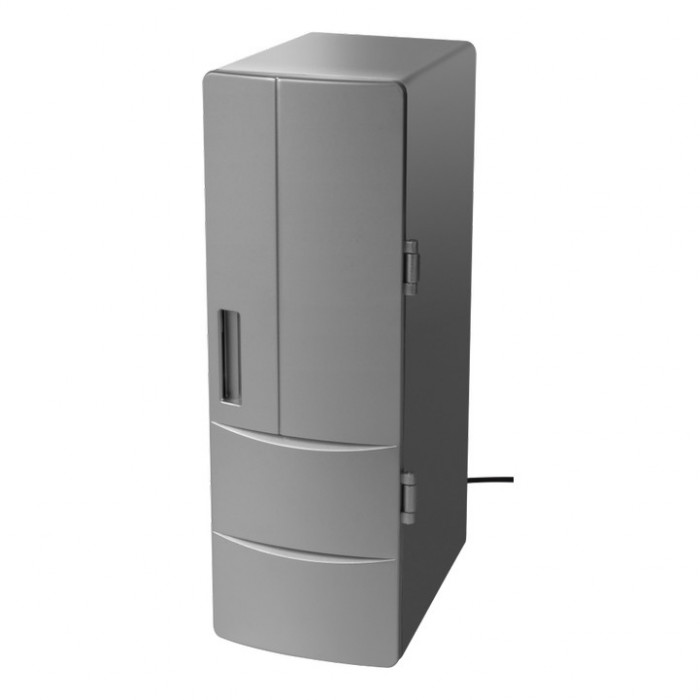 Mini frigider inteligent GadgetMonster HOT & COLD, usb, 2 can-uri 0.33 sau 1 sticla 0.5, gri