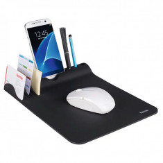 Mousepad Hama Organizer, suprafata cauciucata, suport smartphone, Negru