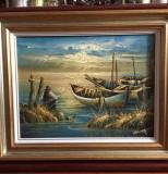 Tablou ulei pe panza inramat - pictor Ion Voineagu ''Pescarul marin'' 2011, Marine, Realism