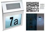 Numar de casa iluminat LED, panou solar, fixare pe perete, 18x20 cm