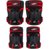 Set protectie cotiere/genunchiere Skate Cars Seven, inchidere Velcro, Negru/Rosu