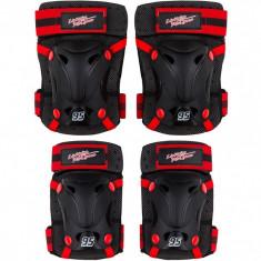 Set protectie cotiere/genunchiere Skate Cars Seven, inchidere Velcro, Negru/Rosu foto