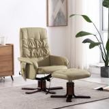 VidaXL Fotoliu masaj rabatabil cu taburet cappuccino piele ecologică