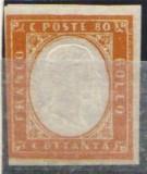 Italy Sardinia 1855 King Viktor Emanuel II, 80c brown orange, SIGNED, MH AM.156, Nestampilat
