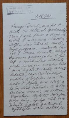 Scrisoare a poetei Claudia Millian , sotia lui Minulescu , catre Camil Petrescu foto