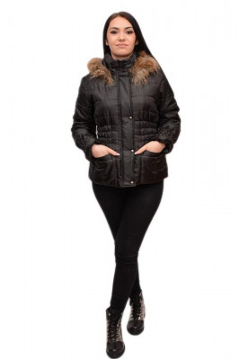 Jacheta neagra, gluga decorata cu blanita fina, buzunare foto