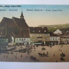 Carte postala Brașov -Piata Libertatii,circulata 1924, Printata, Brasov