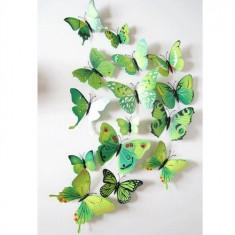 Fluturi 3D cu magnet, decoratiuni casa sau evenimente, set 12 bucati, verde