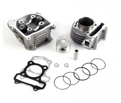 Kit Cilindru Set Motor + Chiuloasa Scuter Chinezesc Gy6 4T 80cc 47mm foto