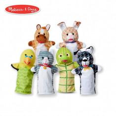 Set 6 papusi de mana animale de companie Melissa & Doug, material lavabil, Melissa & Doug