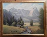 Tablou – pictură în ulei – peisaj montan, Peisaje, Realism