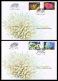 2001 Romania, 2 FDC Corali si anemone de mare LP 1570, plicuri prima zi