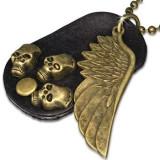 Colier - plăcuță ovală din piele maro, aripă, craniu, lanț