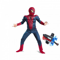 Set costum Spiderman cu muschi Infinity War pentru copii, lansator cu ventuze, M, 5 - 7 ani