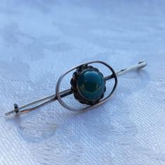 BROSA argint cu PERIDOT delicata VECHE finuta DE EFECT patina MINUNATA rara