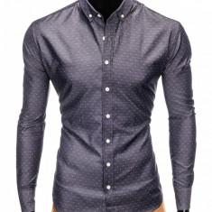 Camasa pentru barbati, gri-inchis, cu model, slim fit, casual, cu guler - k407