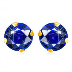 Cercei din aur galben 375 - zirconiu albastru închis de formă rotundă