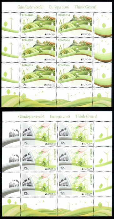 Romania 2016, LP 2103 x, EUROPA Gandeste verde, bloc 6, MNH! Nominal 102,00 lei