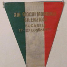 """PVM Fanion """"Jocurile Mondiale Sportive ale Surzilor Wditia XIII Bucuresti 1977"""""""