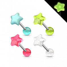 Piercing pentru limbă din oțel ce strălucește în întuneric, stea colorată - Culoare Piercing: Roz
