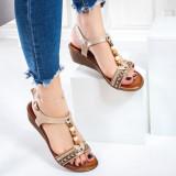 Sandale dama cu platforma bej Romelia