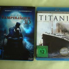 Lot 2 Filme in format Blu-ray ABRAHAM LINCOLN Vânător de Vampiri 3D / TITANIC, BLU RAY, Engleza