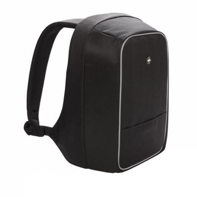 Rucsac antifurt laptop 15.6 inch, Swiss Peak by AleXer, AT, poliester, nylon, negru, breloc inclus din piele ecologica si metal foto