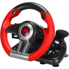 Volan Marvo GT-902 USB 2.0 D-Pad Butoane precise Set cu doua pedale pliabile Rosu/Negru