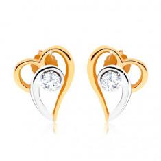 Cumpara ieftin Cercei în două culori din aur 375, contur de inimă asimetrică, zirconiu transparent