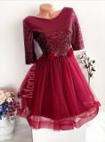 Rochie ocazie ieftina rosie cu fusta din tulle si corset paietat