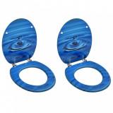 Scaune WC cu capac, 2 buc., albastru, MDF, model strop de apă