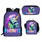 Set Fortnite compus din ghiozdan geanta, penar, negru, imprimeu unicorn