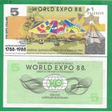 = AUSTRALIA - 5 DOLLARS - 1988 - UNC  PRIVATE ISSUE =