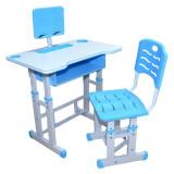 Birou cu scaunel pentru copii, reglabile, albastru, baieti, din lemn, metal si PVC, pentru scoala, cu suport pentru tableta