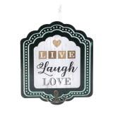 Mini cuier pentru perete Live Laught Love, 17 x 20 cm, Oem
