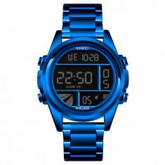 Ceas barbatesc SKMEI albastru digital Quartz bratara metalica rezistent la apa, Lux - sport, Inox