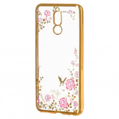 Husa Telefon Silicon Huawei Mate 20 Lite Electro Gold Flowers