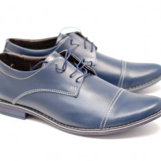 Pantofi albastri casual - eleganti barbatesti din piele naturala cu siret - Made in Romania
